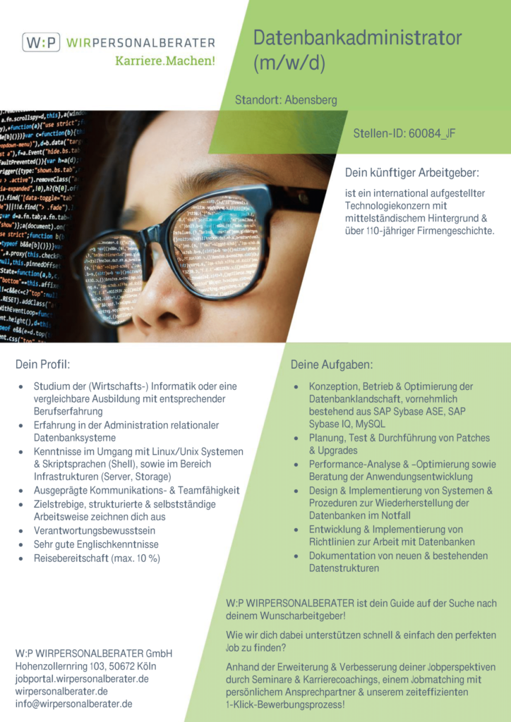 Abensberg – Datenbankadministrator, Linux, Unix, Shell, SAP Sybase ASE, SAP Sybase IQ, MySQL – 60084_JF