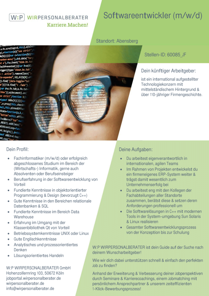 Abensberg – Softwareentwickler, C++, SQL, Data Warehouse, Unix, Linux, ERP-Systeme – 60085_JF