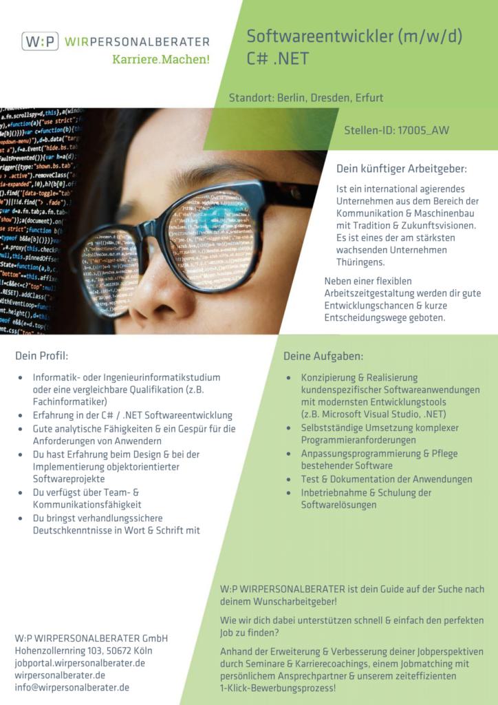 Berlin, Dresden, Erfurt – Softwareentwickler C# .NET, Visual Studio – 17005_AW