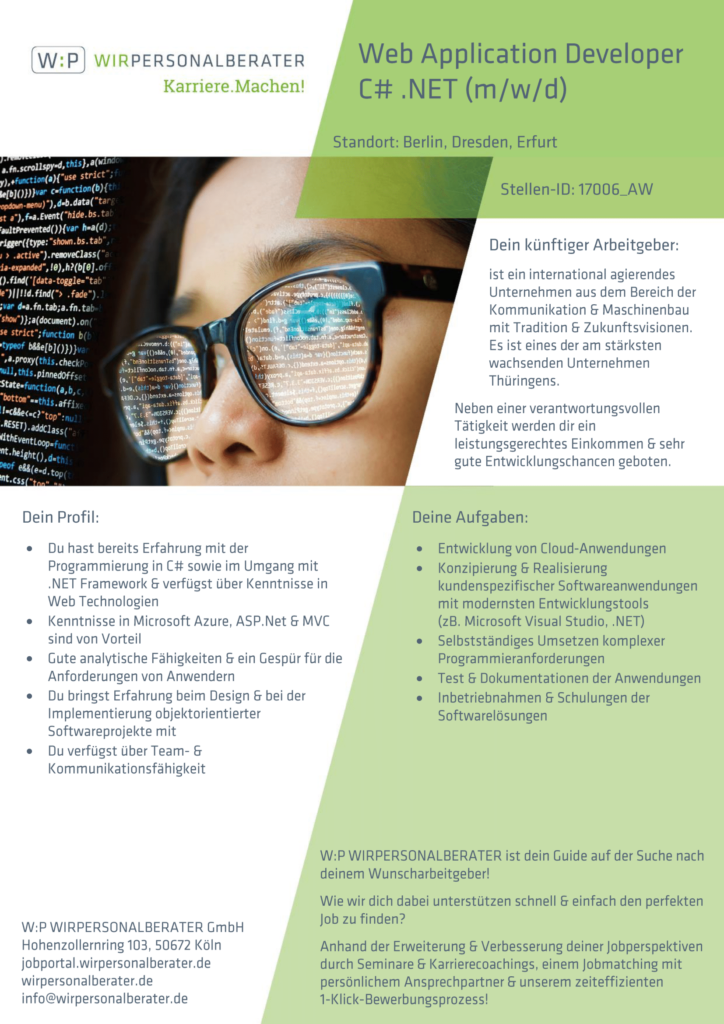 Berlin, Dresden, Erfurt – Web Application Developer C# .NET, Azure, ASP, MVC – 17006_AW