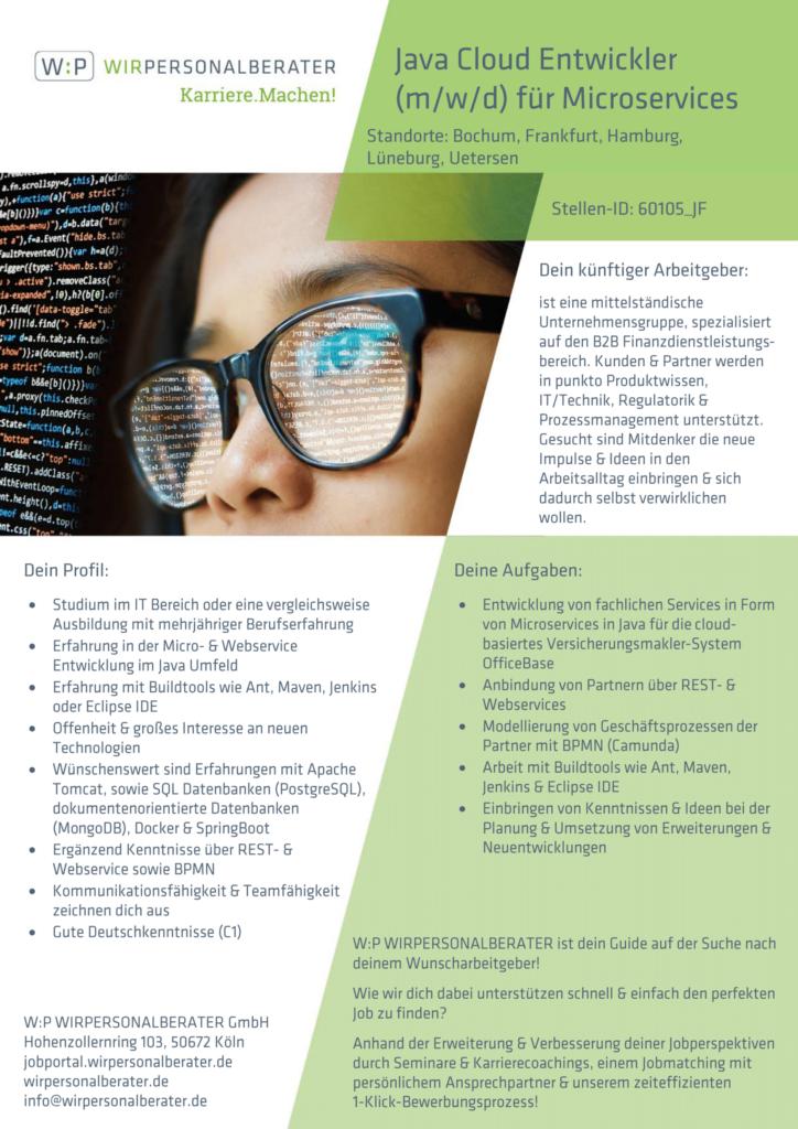 Bochum, Frankfurt, Hamburg, Lüneburg, Uetersen – Java Cloud Entwickler für Microservices, SQL, Java – 60105_JF
