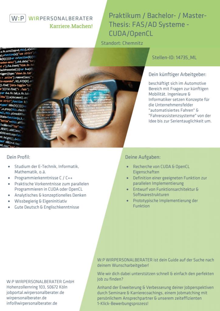 Chemnitz – Praktikum Bachelor-Master-Thesis FAS AD Systeme CUDA OpenCL, C, C++, OpenCL, CUDA – 14735_ML